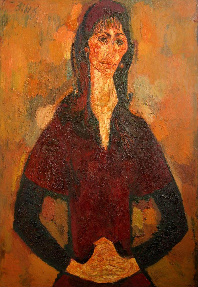 Румена, портрет актрисы, Драматический театр «Стоян Бъчваров», Варна, 1982г., 120 х 90 см, оргалит, масло